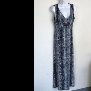 Epilogue Blue Gray Snakeskin Print Maxi Dress